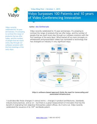 Vidyo Surpasses 100 Patents and 10 years of Video Conferencing Innovation