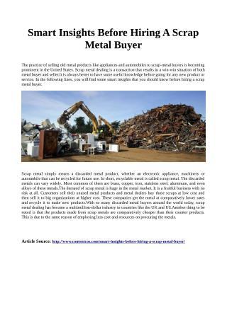 Smart insights before hiring a scrap metal buyer