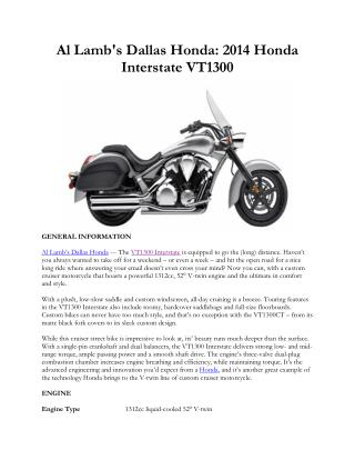 Al Lamb's Dallas Honda: 2014 Honda Interstate VT1300