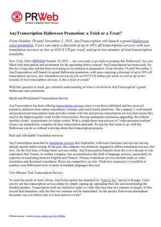AnyTranscription Halloween Promotion a Trick or a Treat