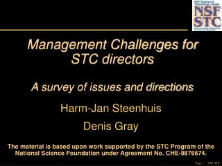 Management Challenges for STC directors  A survey of issues and directions