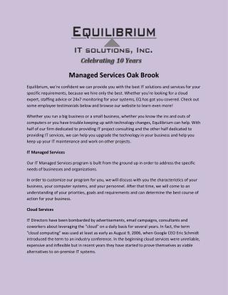 Managed Services Oak Brook