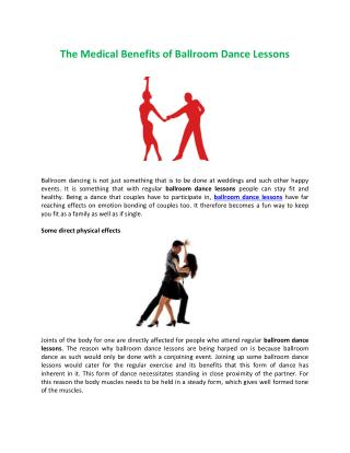 The Medical Benefits of Ballroom Dance Lessons