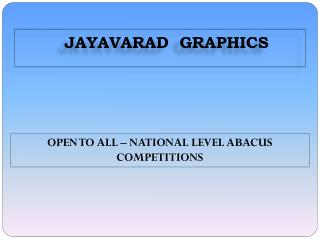 OPEN TO ALL � NATIONAL LEVEL ABACUS COMPETITIONS