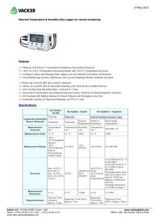 Ethernet Temperature & Humidity Data Logger for remote monitoring