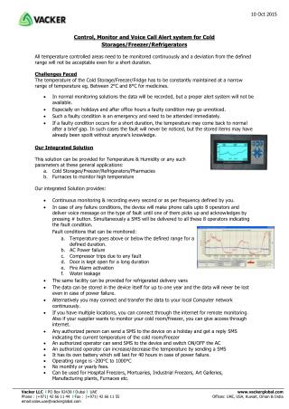 Control, Monitor and Voice Call Alert system for Cold Storages/Freezer/Refrigerators