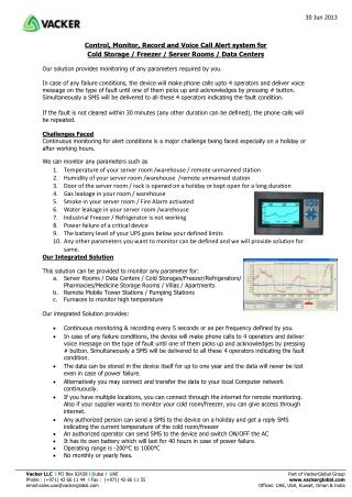 Control, Monitor, Record and Voice Call Alert system for Cold Storage / Freezer / Server Rooms / Data Centers