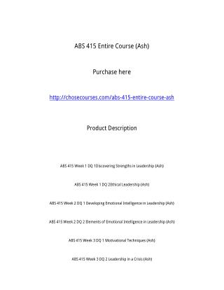 ABS 415 Entire Course (Ash)