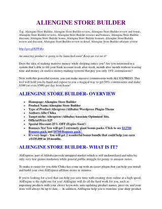 Aliengine Store Builder review and Aliengine Store Builder $11800 Bonus & Discount