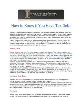 How to Know if You Have Tax Debt