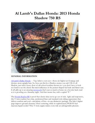 Al Lamb's Dallas Honda: 2013 Honda Shadow 750 RS