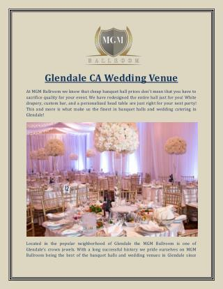Glendale CA Wedding Venue