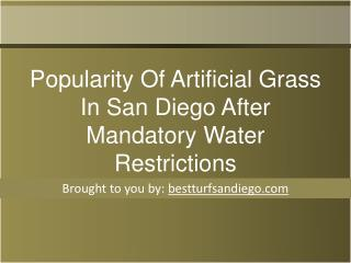 Popularity Of Artificial Grass In San Diego After Mandatory Water Restrictions