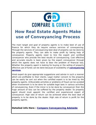 How Real Estate Agents Make use of Conveyancing Process