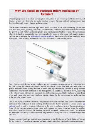 Why You Should Be Particular Before Purchasing IV Catheter?