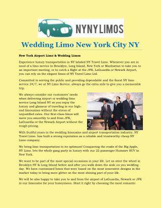 Wedding Limo New York City NY