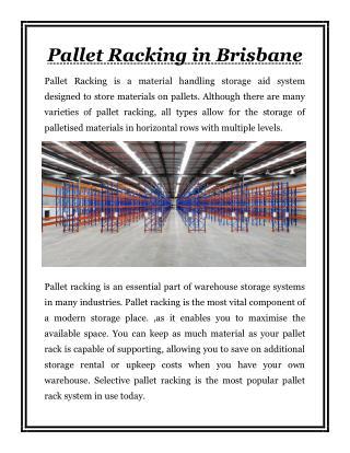Pallet Racking in Brisbane