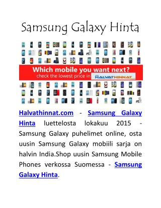 Samsung Galaxy Hinta