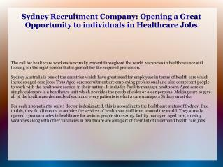 aged care recruitment sydney