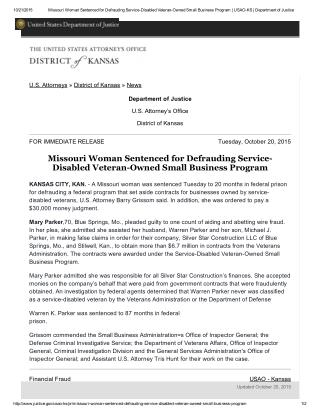 Blog 125 Missouri Woman Sentenced for Defrauding Service-Disabled Veteran-Owned Small Business Program