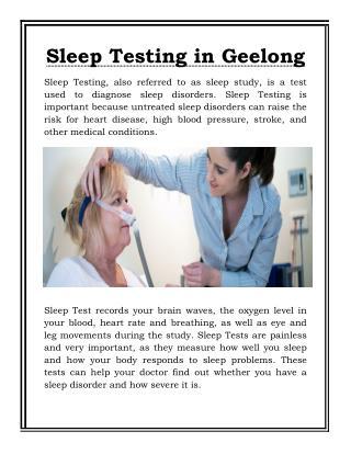 Sleep Testing Geelong