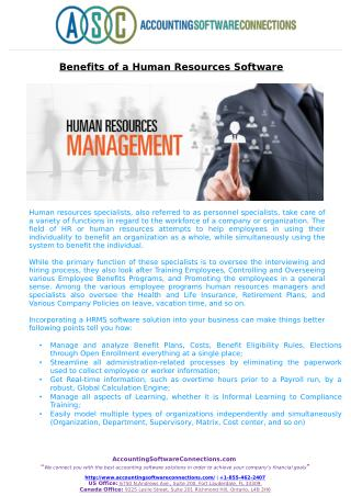 Benefits of a Human Resources Software