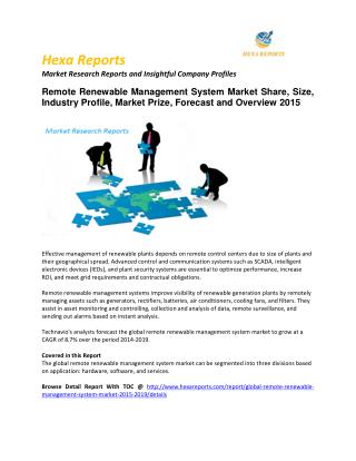 Remote Renewable Management System Market – Opportunity and Forecast 2015
