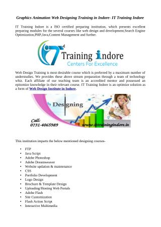 Best Web design training institute in Indore at IT Training Indore