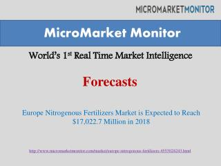 Europe Nitrogenous Fertilizers Market is Expected to Reach $17,022.7 Million in 2018