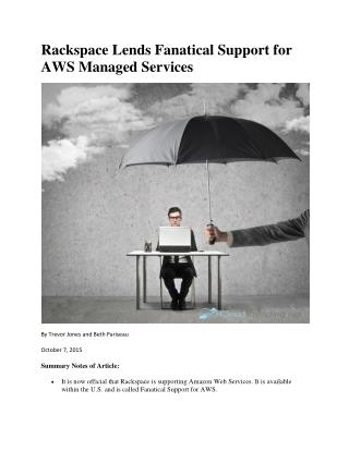 Rackspace Lends Fanatical Support for AWS Managed Services