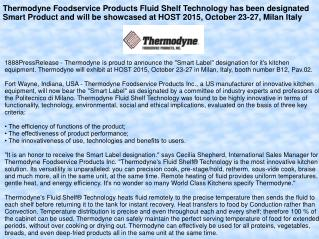 Thermodyne Foodservice Products Fluid Shelf Technology has been designated Smart Product and will be showcased at HOST 2