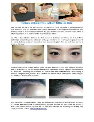 Eyebrow Embroidery vs. Eyebrow Tattoos in Korea