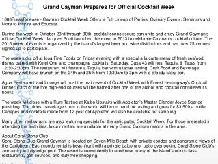 Grand Cayman Prepares for Official Cocktail Week