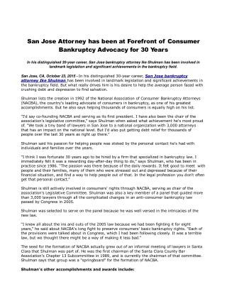 San Jose Attorney has been at Forefront of Consumer Bankruptcy Advocacy for 30 Years