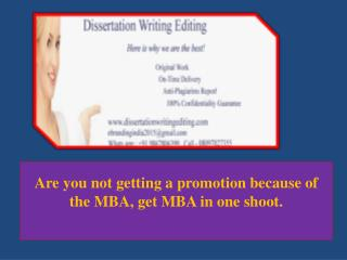 Are You Not Getting a Promotion Because of the MBA, Get MBA in One Shoot.