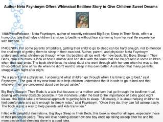 Author Neta Faynboym Offers Whimsical Bedtime Story to Give Children Sweet Dreams