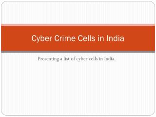 Cyber Crime Cells in India