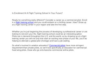 Is Enrollment At A Flight Training School In Your Future?