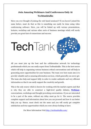 Join Amazing Webinars And Conferences Only At Techtanktalks
