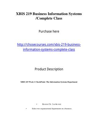 XBIS 219 Business Information Systems