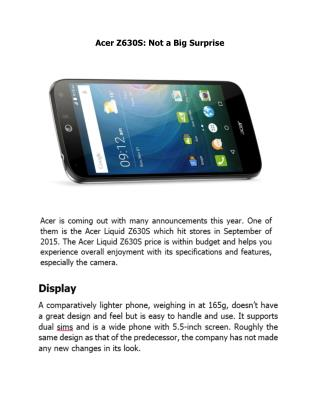 Acer Z630S: Not a Big Surprise