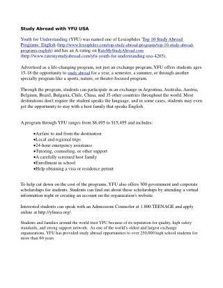 Study Abroad with YFU USA
