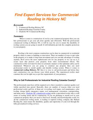 Find Expert Services for Commercial Roofing in Hickory NC
