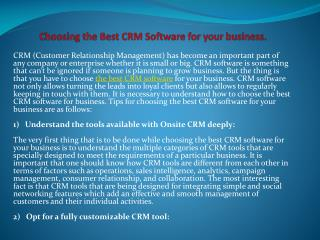 Choosing the best crm software for your business.