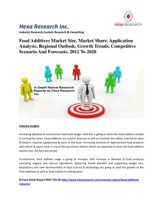 Food Additives Market Size, Market Share, Application Analysis, Regional Outlook, Growth Trends, Competitive Scenario An