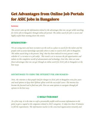 ASIC jobs in Bangalore - wisdomjobs