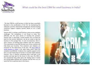 CRM Software India, Best CRM for Small Business