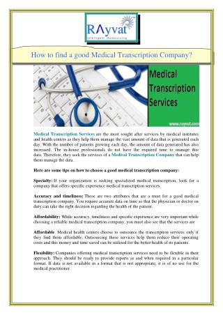 How to find a good Medical Transcription Company?