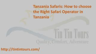 Tanzania Safaris: How to choose the Right Safari Operator in Tanzania