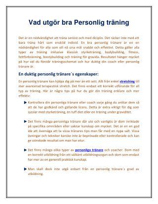 Vad utgör bra Personlig träning | First Class Personal Training